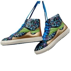 NWOB Coach Pointed Toe Floral Leather Hightop